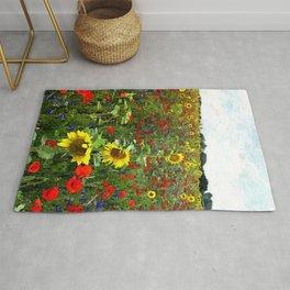 Field of Sunflowers, Bluebonnets, & Red Poppy floral portrait painting by J. Ferro & M. Bruggen  Rug