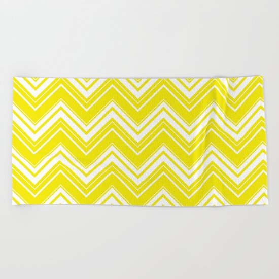Sunny Yellow Chevron pattern - Mix & Match with Simplicity of Life Beach Towel