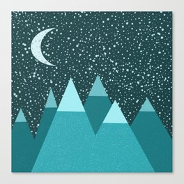 Snow Covered Mountains On A Moonlit Night Canvas Print