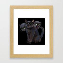 3 HEADED KITTY Framed Art Print