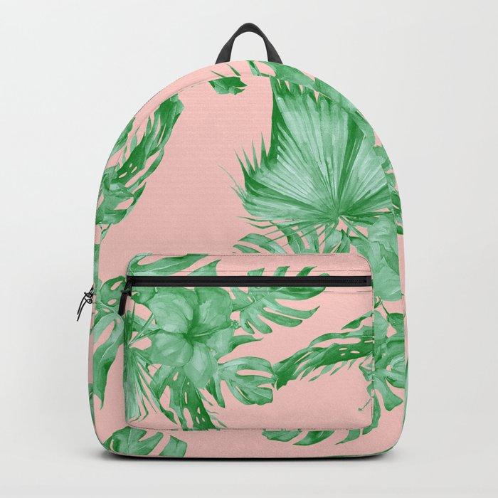 Dreaming of Hawaii Coral Pink + Green Backpack