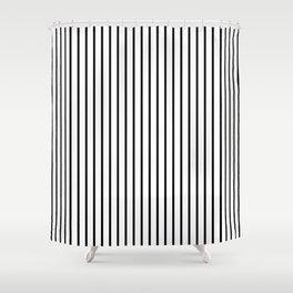 Black Pinstripe On White Pattern Shower Curtain