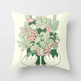Plants Club (girl) Throw Pillow