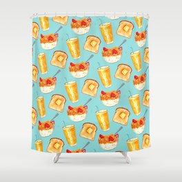 Breakfast Pattern - Blue Shower Curtain