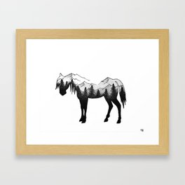 Horse and Mountains Silhouette Framed Art Print