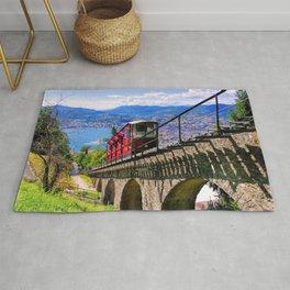 Lugano, Switzerland Funicular - Cable Car Lakeside photograph Rug