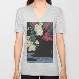 Chrysanthemums and Running Water Unisex V-Neck