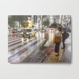 Rain In Shibuya Metal Print