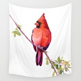 Cardinal Bird Vintage Style Red Cardinal design Wall Tapestry