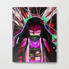 Neon Nezuko Metal Print