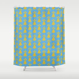 French Country Blue and Gold Ermine Spots Patterned Print Shower Curtain