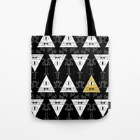 gravity falls Tote Bags featuring Bill Cipher - Gravity Falls by BlacksSideshow