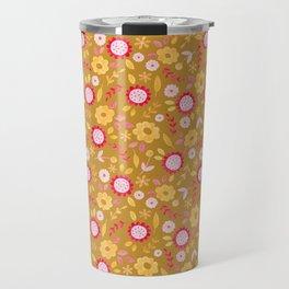 Autumn floral - mustard, ochre Travel Mug