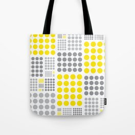 Yellow and Grey Polka Dots Tote Bag