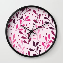 pink,magenta and lili abstract seaweed plants seamless pattern Wall Clock