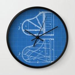 Steinway Grand Piano Patent - Piano Player Art - Blueprint Wall Clock