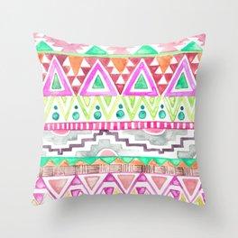 Watercolor Aztec Pattern Pink Throw Pillow