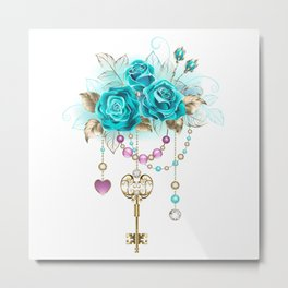 Turquoise Roses with Keys Metal Print