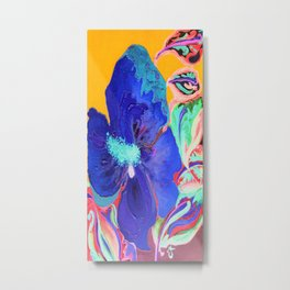 Birthday Acrylic Blue Orange Hibiscus Flower Painting with Red and Green Leaves Metal Print