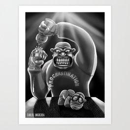 Procrastination (black and white) Art Print