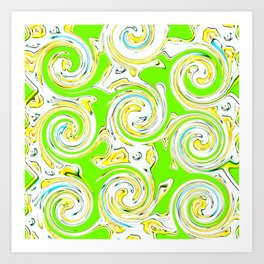 Swirly Green Lite Art Print