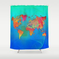 world map Shower Curtains featuring World Map by Roger Wedegis