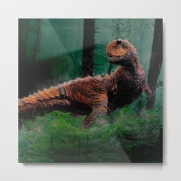 Carnotaurus Dinosaur Cretaceous Period Grass Trees Metal Print