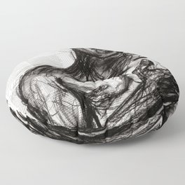 The Pledge - Charcoal on Newspaper Figure Drawing Floor Pillow