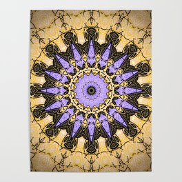 Brushed Gold and Purple Mandala Design Poster