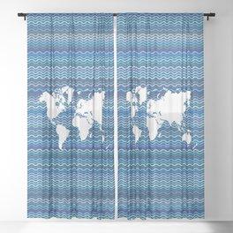Wavy World Map Blue Sheer Curtain