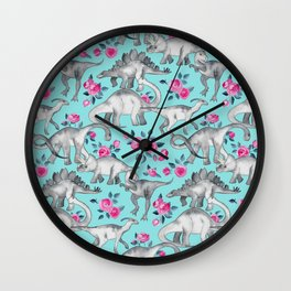 Dinosaurs and Roses - turquoise blue Wall Clock