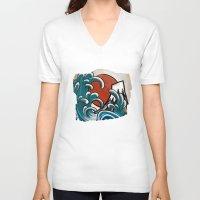 comic V-neck T-shirts featuring Hokusai comic by Nxolab