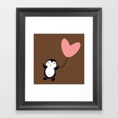 Penguin in love Brown Framed Art Print