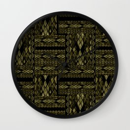 Patchwork seamless snake skin print Wall Clock