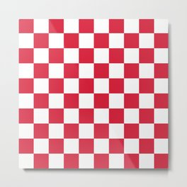 Red, Cherry: Checkered Pattern Metal Print