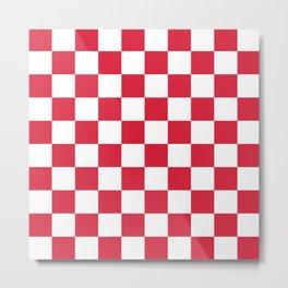 Red, Cherry: Checkered Pattern Metal Print