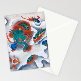 Minhwa: A Blue Dragon in the clouds (Korean traditional/folk art) Stationery Cards