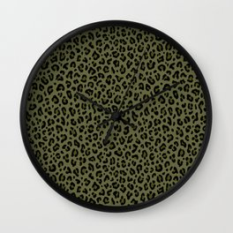 CAMO LEOPARD PRINT – Olive Green | Collection : Punk Rock Animal Prints. Wall Clock