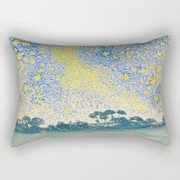 Henri-Edmond Cross Neo-Impressionism Pointillism Landscape with Stars Watercolor Painting Rectangular Pillow