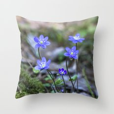 Anemone in forest Throw Pillow