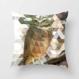 Burrowing Owl - Low Poly Technique Throw Pillow