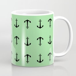 Anchors Away - Black anchors pattern on pastel green Coffee Mug