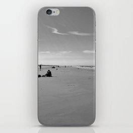 low tide sand beach sunny summer day at ouddorp zeeland netherlands europe black white iPhone Skin