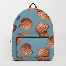 Light blue Big Clam pattern Illustration design Backpack