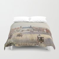 broadway Duvet Covers featuring Vintage Broadway NYC Artwork (1840) by BravuraMedia