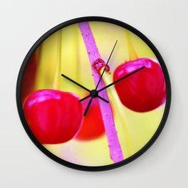 Pink cherries Wall Clock