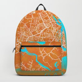Galway, Ireland, Gold, Blue, City, Map Backpack