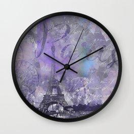 Purple Paris Watercolor Art Wall Clock