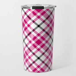 Pink Black and White Tartan Travel Mug