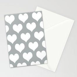 Hearts of Love Grey & White Stationery Cards